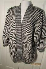 Eugenia by Angenie Sweater Coat, Large, Acrylic/wool, black/white