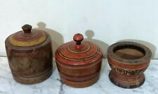 3 Antique Painted Wooden Lacquerware Spice Boxes From Pakistan - Sindh Tribe