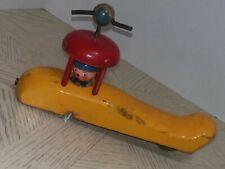 Antique vintage primitive handmade wooden airplane toy, single engine prop plane