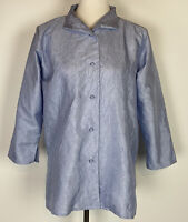 Eileen Fisher Womens Blouse Silk Blue Textured Button Front Size Small