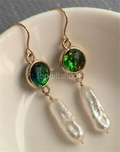 white 10-20mm cultured freshwater pearl opal earrings 14k filled gold