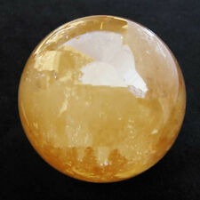 100MM Natural Citrine Calcite Quartz Crystal Sphere Ball Healing Gemstone+Stand#