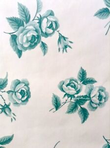 Roses Vintage Floral Wallpaper Teal Green Waverly 560072 Double Rolls