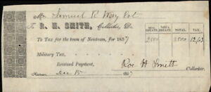 1857 Newtown Connecticut (CT) Document Samuel R Ray Est Miltary Tax R,H,Smith