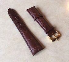 ROLEX WATCH BAND 20MM Brown Leather with Rolex Gold Plated Buckle