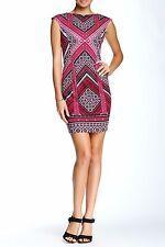 NWT $128 Maggy London Times Cap Sleeve Pink Multi Print Sheath Dress Petite 12P
