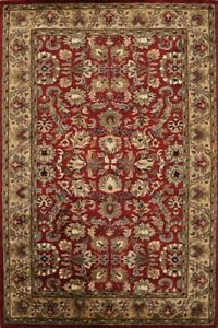 Traditional Floral RED/BEIGE Agra Oriental Area Rug Hand-Tufted Wool Carpet 5x8