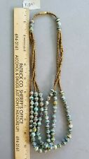Necklace 3 strand from Uganda Blue / plaid African Paper Bead