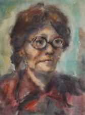 Vintage impressionist watercolor painting woman portrait  FREE SHIPPING