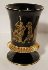 "K.B.N.Y Hand-Painted Black & Gold Vase, 4"" Tall, Made in Italy"