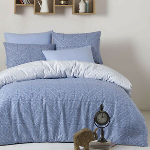 4-pc Set: Flat Sheet, Fitted Sheet, 2 Shams. 100% Cotton, Blue, Made in Turkey