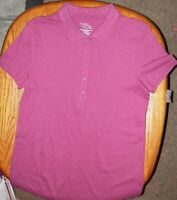 NWT Size L (12/14) Solid Cranberry Women's Short Sleeve Polo Shirt Top