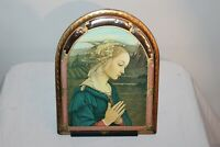Vintage Mother Mary Praying Religious Christianity Wall Plaque Gilded Frame