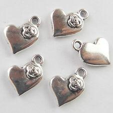 100pcs Lovely Rose Flower Heart Tibetan Silver Charm Pendant Bead HJ01