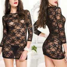 Stretch Black Sheer Flowery Lace Long Sleeve Micro Mini Dress Teddy w/ Thong Os