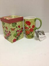 Cypress Home Latte Coffee Tea Mug 19 oz Poppies Butterflies Leaves Gift Box