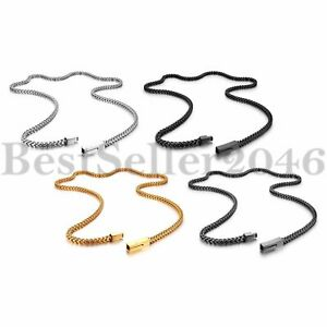 """4mm Biker Stainless Steel Franco Chain Necklace for Men Square Box Chain 25"""""""