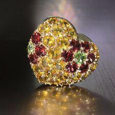 14k Yellow gold Natural Garnet Citrine Peridot Multi Gem Puffed Heart Pendant