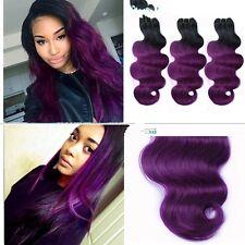 300g/3bundles unprocessed brazillian ombre purple human hair bodywave 12 14 16