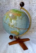 Vintage Large Danish True To Life Terrestial World Globe On Equatorial Mount
