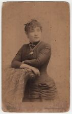 1880s BELLOWS FALLS VERMONT VT Cabinet Photograph PHOTO Carrie Merriam NECKLACE