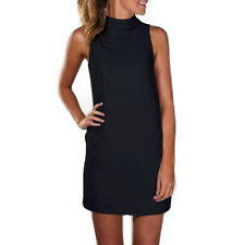 US Womens Sleeveless Polo Turtle Neck Mini Dress Casual Beach Sundress Long Tops