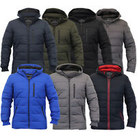 Mens Jackets Threadbare Coat Quilted Padded Hooded Bubble Puffer Lined Winter