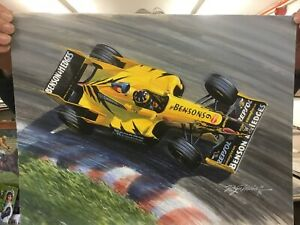 Damon Hill in Jordan F1 Car Quality Print
