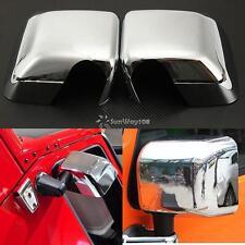 2Pcs ABS Chrome Side Mirror Cover Trim Cap For 2007-2017 Jeep Wrangler JK JKU