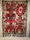 """Vintage Aztec Design Cloth Tapestry Fringe Bottom, Dyed Design, 44"""" x 34"""""""