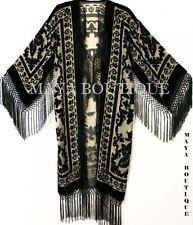 Maya Matazaro Beige & Black Silk Burnout Velvet Fringes Jacket Kimono Long Coat