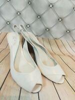 Next genuine leather Ladies open toe White Wedges sandals Size Eur 37 Uk 4
