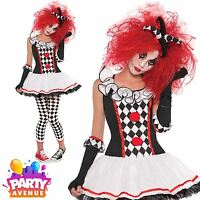 Girls Harlequin Honey Clown Halloween Costume Fancy Dress Outfit