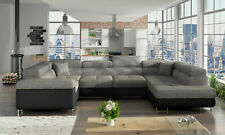 Design Corner Sofa Bed Function Couch Leather Pads Textile New 5625