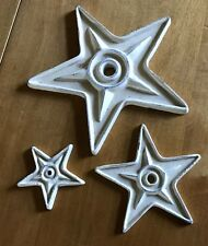 """Ivory metal stars ~ 6"""" 4"""" 2.5"""" ~ reproduction tie-end stars ~ Primitives"""