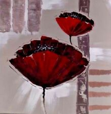 Canvas Oil Painting with Gloss Poppy 60cm x 60cm on 4cm Wooden Frame