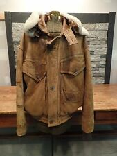 Ground Zero Bomber Jacket Distressed Grunge Sherpa Collar Men's Size 38 Vintage