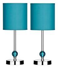 Set Of 2 Table Lamp Teal Shade With Acrylic Ball Chrome Finish Base Home Decor