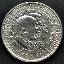 USA 1952 Half Dollar Gedenkmünze Washington & Carver - Americanism Silber 4319