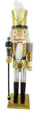 """Nutcracker in Gold and Silver Leaf w/White Feather 15"""""""
