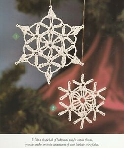 Christmas Snowflake Ornaments - 2 Designs - Crochet Pattern ONLY