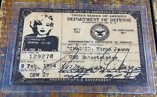 Marilyn Monroe Norma Jean DiMaggio USO ID Card Military Signed Passport Photo