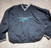 Vintage 90s Reebok Pullover Jacket Mens Sz XL Black Windbreaker Big Logo Golf