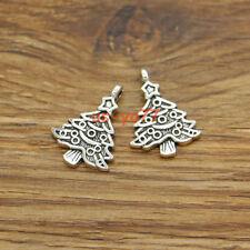 20 Christmas Tree Charms Tree Charms Holiday DIY Charm Antique Silver 18x24 3483