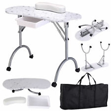 Portable Manicure Nail Table Station Desk Spa Beauty Salon Equipment White New