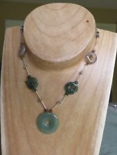 ORIGINAL CRAFTED SILVER (925) & AGATE/JASPER NECKLACE - LENGTH 19""
