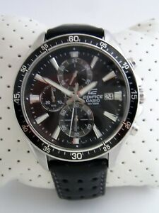 CASIO EDIFICE WATCH EFR-546D-1AVUEF CHRONOGRAPH STAINLESS STEEL LEATHER GENUINE