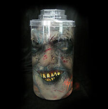Lighted Zombie Head Mutilated Human Face in Lab Jar Halloween Party Prop + Mask