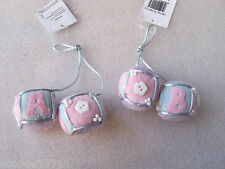 4 x Lilac Blue & Pink A B C Soft Toy Blocks Pram Cot Christmas Tree Decorations