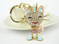 KC043 PI Smiley Cat Keyring Rhinestone Crystal Charm Pendant KeyChain Gift